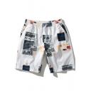 Men's Cool Pattern Drawstring Waist White Casual Loose Beach Shorts Swim Trunks