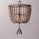 Domed Shape Bedroom Hanging Light Metal and Wooden Beads 2 Lights Antique Style Chandelier in Bronze