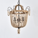 Dining Room Bell Shape Chandelier Wooden Beads and Metal Candle 3 Lights Antique Style Hanging Lamp for Living Room