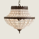 Cone Bedroom Chandelier Metal and Clear Crystal Beads 2 Lights American Vintage Light Fixture in Bronze