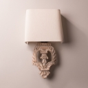 Rustic Style Sconce Light Single Light Fabric and Wood Wall Light for Bedroom Study Room