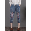 Vintage Distressed Floral Embroidery Drawstring Waist Cropped Blue Jeans