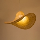 Single Light Hat Shape Ceiling Light Antique Style Rattan Pendant Lighting in Beige for Kitchen