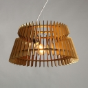 Country Style Beige Ceiling Light Fixture with Tapered Shade One Light Wood Hanging Fixture