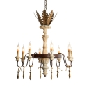 American Rustic Pendant Lighting with Candle Shape and Leaf Decoration 8 Lights Metal and Wood Ceiling Chandelier