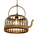 Industrial kettle Shape Hanging Light 1 Light Metal Cage Pendant Lighting in Black