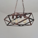 Rustic Copper Geometric Island Light 4 Lights Industrial Metal Pendant Lighting for Kitchen