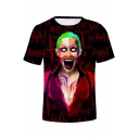 New Popular Joker Clown Figure Printed Short Sleeve Red T-Shir