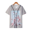 Unisex Fashion Floral Printed V-Neck Short Sleeve Button Down Grey Baseball Shirt