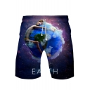New Trendy Purple Galaxy Earth Printed Drawstring Waist Loose Relaxed Shorts