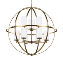 Traditional Globe Shape Chandelier Light 9 Lights Metal Hanging Lamp for Restaurant Living Room