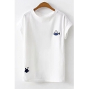 Summer White Simple Fish Cat Embroidery Round Neck Casual Tee
