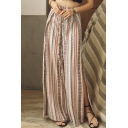 Summer Holiday Tribal Striped Printed Tied Waist Split Side Beach Culottes Palazzo Wide Leg Pants for Women