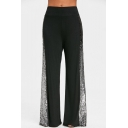 Unique Fashion Sequined Patched Side Women's Black Yoga Pants Wide-Leg Pants