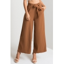 Hot Fashion Solid Color Tied Waist Womens Culotte Pants Wide Leg Pants