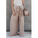 Womens Summer Solid Color Unique Knotted Waist Breathable Khaki Baggy Wide-Leg Pants