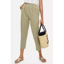 Women's Trendy Solid Color Army Green Elastic Waist Carrot Pants Tapered Pants