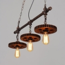 Industrial Saw Gear Pendant Light Metal 3 lights Rust Island Fixture for Dining Room