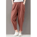 Summer Basic Solid Color Elastic Waist Button-Fly Linen Harem Pants for Women