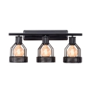 Black Metal Frame Wall Lamp in Vintage Style Metal Shade 3-Light Vanity Lighting, 22