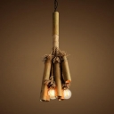 Bamboo Cylinder Shape Hanging Light Dining Room Restaurant Rustic Style Pendant Lighting in Beige