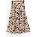 Hot Fashion Leopard Printed Women's Midi A-Line Skirt