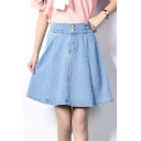 Women's Fashion Elastic Waist Double Button Front High Rise Summer Mini A-Line Denim Skirt