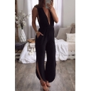 Women's New Fashion Solid Color Sexy Plunged Neck Split Side Jumpsuits with Pockets