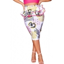New Trendy White Pattern Peplum Waist Midi Bodycon Pencil Skirt