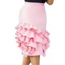 Designer Unique Fashion Ruffled Hem Summer Pink Mini Bodycon Skirt