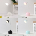 Pen Holder Design LED Desk Light USB Charging Port Flexible Gooseneck Reading Light with Touch Sensor