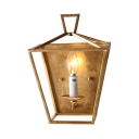 Classic Gold Wall Light with Candle Shape 1 Light Metal Sconce Light for Hallway Hotel Bar