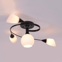 American Rustic Twisted Arm Light Fixture 4/6 Lights Metal and Frosted Glass Semi Flush Ceiling Light in White/Black