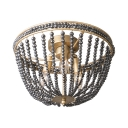Metal Dome Shape Flush Mount Light with Crystal Beads 3 Lights Antique Style Light Fixture in Gold