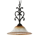 Dining Room Hat Shape Pendant Light Metal Prismatic Glass 1 Lights Antique Style Black Hanging Light