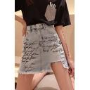 Streetwear Cool Letter Graffiti Fringed Hem Cut Hemline Blue Mini A-Line Denim Skirt
