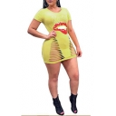 Cool Yellow Kiss Lip Printed Sexy Hollow Out Short Sleeve Mini Bodycon T-Shirt Dress