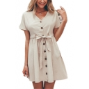 Summer Simple Plain V-Neck Short Sleeve Button Down Bow-Tied Waist Mini A-Line Dress