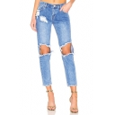 New Stylish Distressed Ripped Big Hole Knee Cropped Blue Straight Jeans for Women