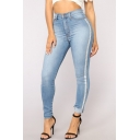 Womens New Stylish Tape Side Rolled Cuff Stretch Blue Skinny Fit Jeans