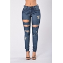Womens New Trendy Dark Blue Distressed Cutout Ripped Skinny Fit Jeans