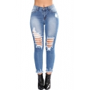 Women's Popular Fashion Fringed Hem Destroyed Ripped Hole Blue Skinny Fit Denim Jeans