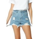 Womens Cool Letter Ribbon Side Light Blue Distressed Ripped Light Blue Denim Shorts