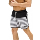 Simple Letter WOLF Striped Printed Drawstring Waist Quick Dry Running Shorts Swim Shorts