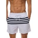 Basic Simple White Striped Printed Drawstring Waist Mens Beach Swim Shorts