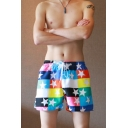 Fashion Colorblock Star Printed Mens Casual Loose Lounge Board Shorts Swim Shorts