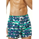 Stylish Stripe Floral Printed Mens Summer Breathable Beach Shorts Swim Shorts
