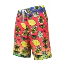 Cool Mens lemon letter Pattern Swim Shorts Trunks with Mesh Lining and Pockets