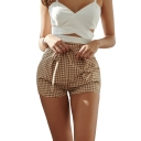 British Style Classic Plaid Printed Tied Waist Womens Yellow Straight Shorts
