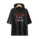 Popular Colorful Letter I Love You 3000 Short Sleeve Relaxed Hooded T-Shirt